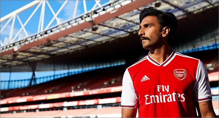 buy popular bcf46 db0fe Ranveer Singh launches Adidas' home kit 2019/20 for Arsenal ...