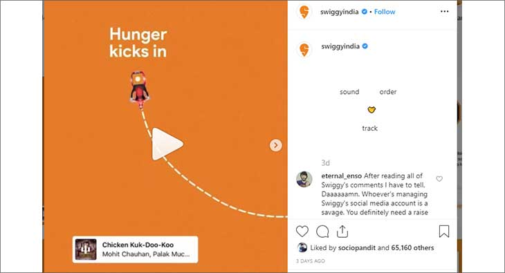 Swiggy's creative on instagram music